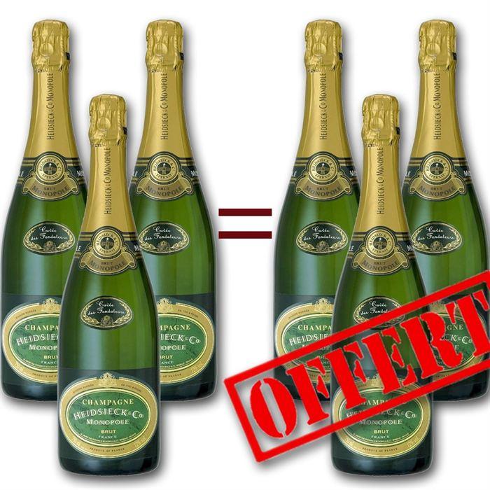 heidsieck co monopole champagne brut 6 bouteilles comparer avec. Black Bedroom Furniture Sets. Home Design Ideas