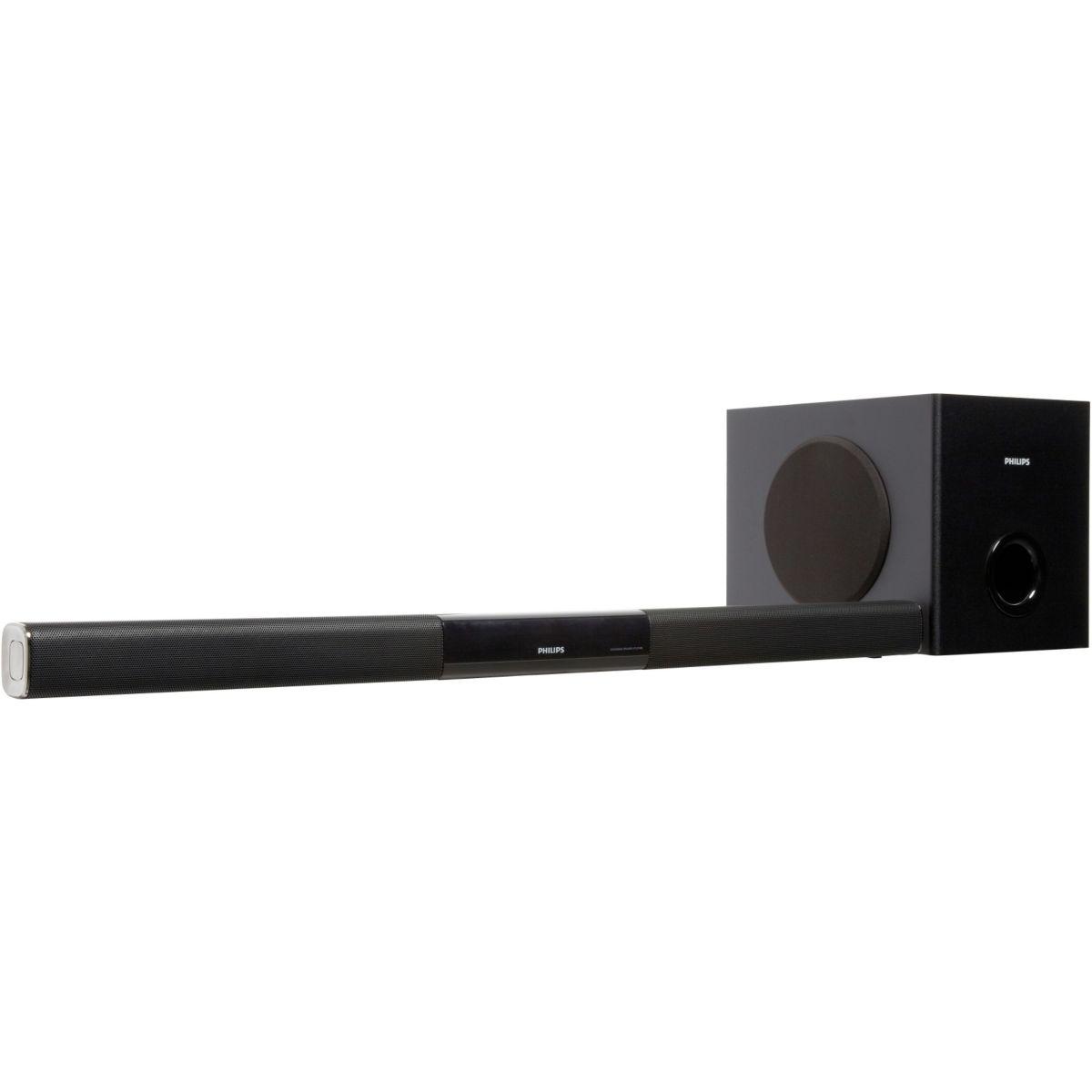 philips htl3140 barre de son ultracompacte 2 1 200 watts. Black Bedroom Furniture Sets. Home Design Ideas