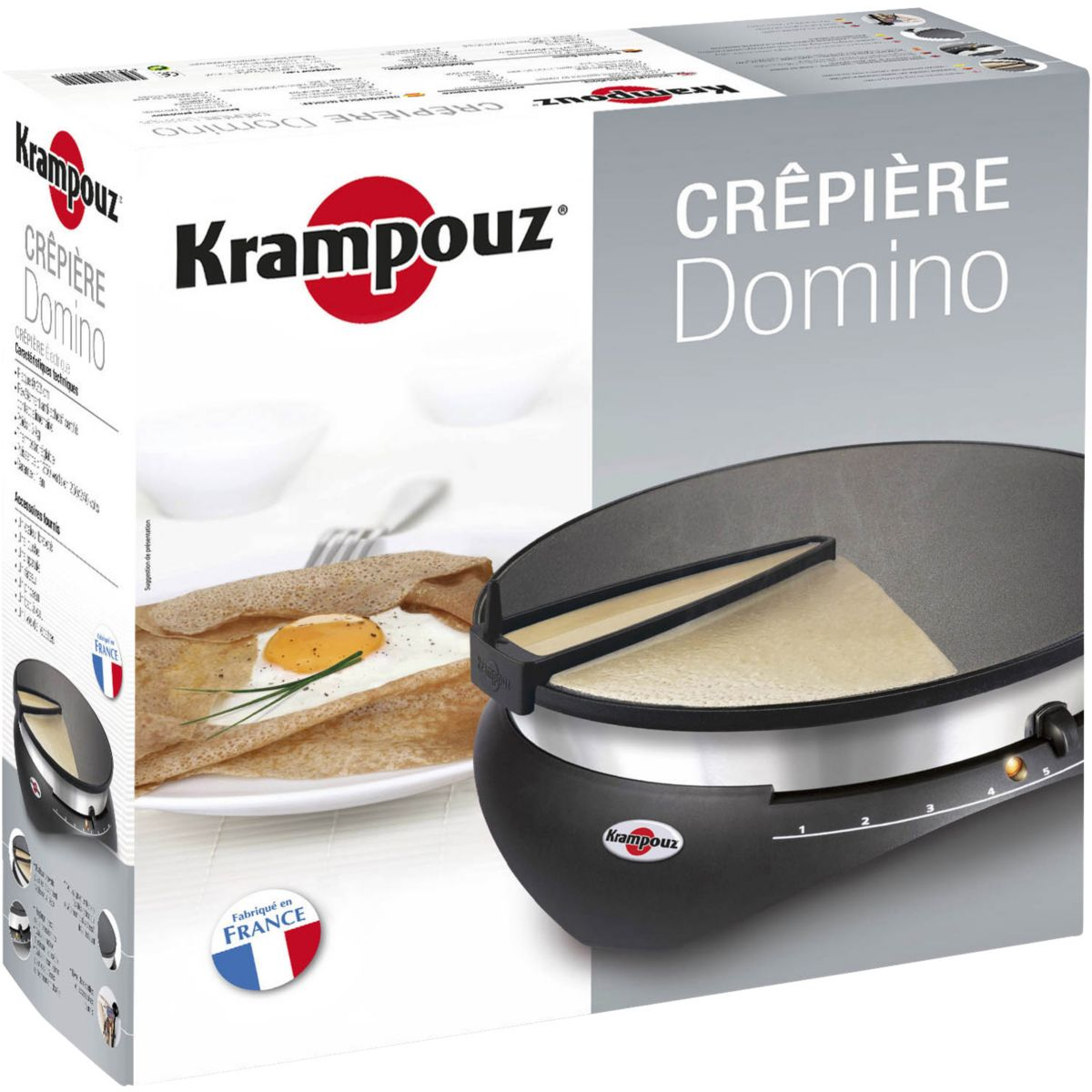 Krampouz cebpb2 domino cr pi re lectrique 33cm for Crepiere conviviale