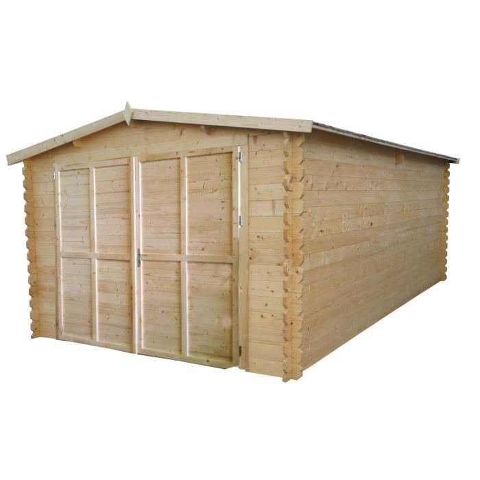 Chalet et jardin grenat garage en bois de sapin 34 mm avec double porte 20 83 m2 comparer - Le bon coin abri de jardin ...