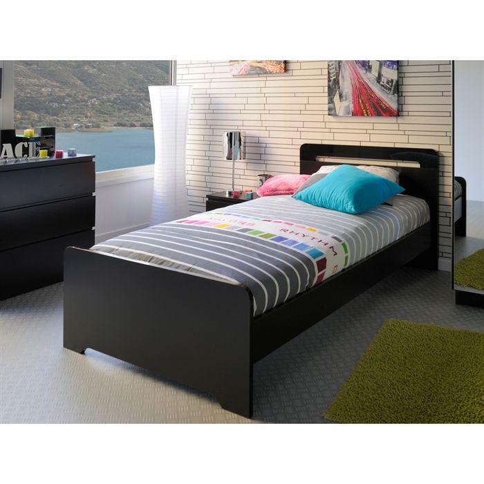 lit 1 personne noir laque