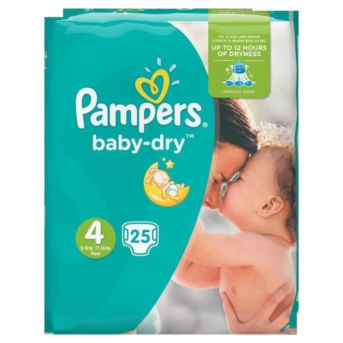 pampers baby dry taille 4 maxi 8 16 kg 25 couches. Black Bedroom Furniture Sets. Home Design Ideas