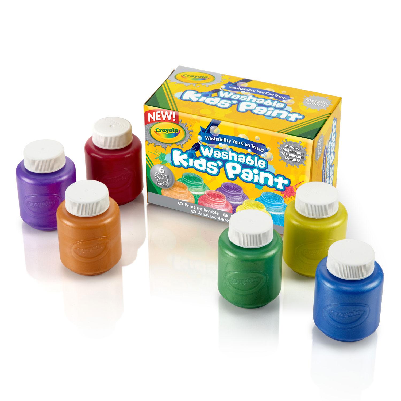 crayola 6 pots de peinture lavable m tallique comparer. Black Bedroom Furniture Sets. Home Design Ideas