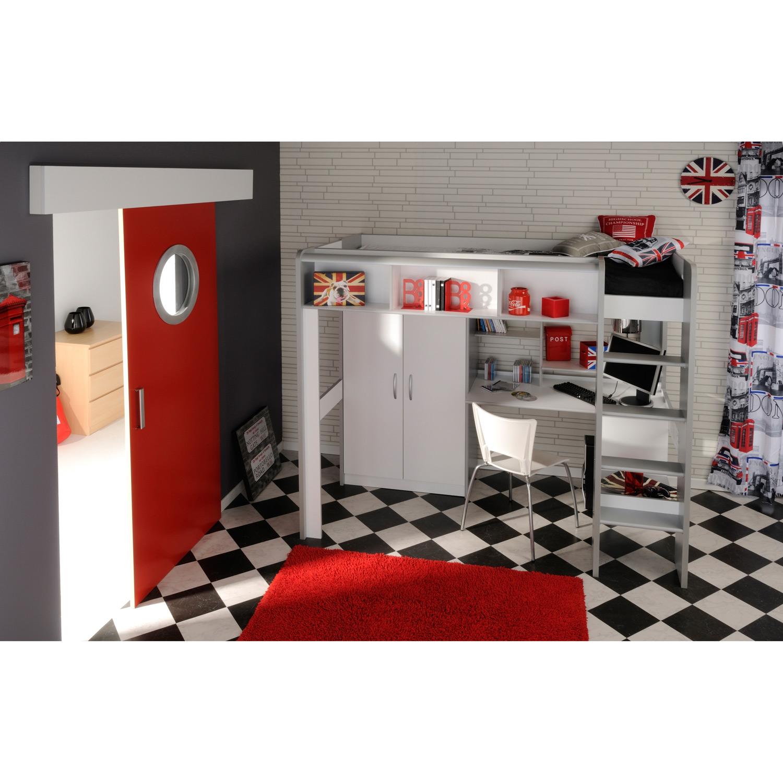 lit mezzanine igloo avec armoire 2 portes 90 x 200 cm. Black Bedroom Furniture Sets. Home Design Ideas