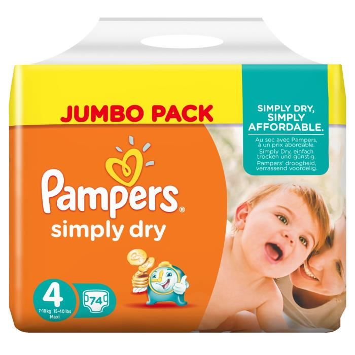 Pampers simply dry taille 4 maxi 7 18 kg jumbo pack 74 - Couches pampers taille 4 comparateur prix ...