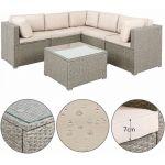 Deuba Canapé Lounge 20 pièces Gris - Beige Coussin Table Plateau Verre Meuble Salon de Jardin mobilier de Jardin intérieur extérieur