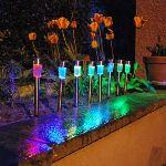 Galix 8 lanternes solaires multicolores en inox