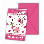 6 cartes d'invitation et enveloppes Hello Kitty