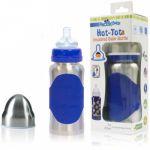 265 ml Kid Basix Biberon en Inox avec Silicone Bleu
