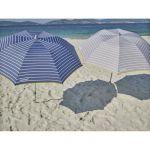 EZPELETA Parasol de plage spécial moto ou vélo - Ø 170 cm - Rayé gris Socle non inclus