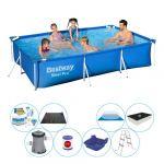 Bestway Offre combi de piscine - Piscine complete - Steel Pro - Rectangulaire Tubulaire - 300x201x66 cm