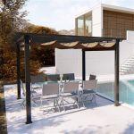 Concept-Usine Regia : tonnelle autoportante 3 x 3 m, structure aluminium et toile polyester taupe -