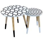 The home deco factory Tables gigognes plateau déco pieds bicolores (Lot de 2)