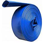 DCRAFT | Tuyau plat refoulement 50 M Diamètre 2 | Tuyau enroulable pour motopompe distribution l'eau claire sale fosse septique | Bleu TROUV