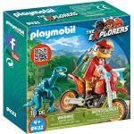 Playmobil 9431 - The Explorers : Pilote de moto et raptor