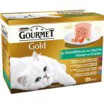 Purina Gourmet Gold Les Mousselines - Paté pour chat 4 saveurs légumes (8 x 12 x 85 g)