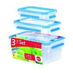 Emsa 3 boîtes alimentaire Clip and Close 3D Perfect Clean (0,55 / 1 / 2,3 L)