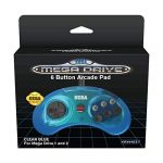 Retro-Bit Official SEGA Mega Drive Controller 6-Button Arcade Pad for Sega Mega Drive/Genesis - Port - Clear Blue