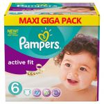 Pampers Couches - Taille 6 active fit - 128 couches bébé