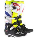 Alpinestars Tech 7 blanc/jaune fluo/bleu - Bottes cross