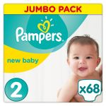Pampers New Baby taille 2 Mini 3-6 kg - Jumbo pack 68 couches