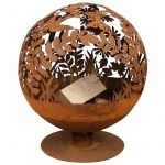 Esschert design Brasero métal globe feuille aspect rouillé Ø 58 cm