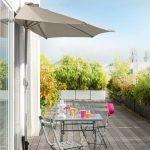 Hesperide Demi parasol de balcon Serena Taupe