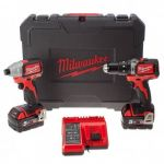 Milwaukee M18 BLPP2B-502C 18V brushless M18 (2 x 5,0Ah) + Coffret - Pack 2 outils perceuse visseuse à choc