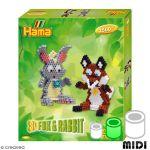 Hama Kit Perles Midi - 3D Renard et lapin - 2500 perles