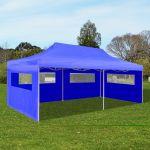 VidaXL Tente de réception pliable bleue 3 x 6 m