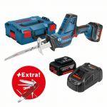 Bosch Scie sabre sans-fil GSA 18V-LI C + 2 batteries 5,0 Ah + couteau pliant Victorinox dans L-BOXX - 0615990K5F