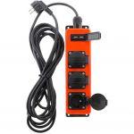 Zenitech Multiprise bricolage 3 prises 16A 2P+T avec 2x USB 2,1A pour extérieur - câble HO7RNF 3G1,5 3m - IP44 - Noir & Rouge