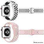 Ibroz Bracelet Apple Watch Sport 44mm blanc + rose