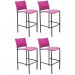 Proloisirs Chaise de bar en acier et toile Globe (Lot de 4) - Gris Framboise
