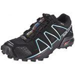 Salomon Femme Speedcross 4 GTX Chaussures de Trail Running, Imperméable, Noir (Black/Black/Metallic Bubble Blue), Taille: 38 2/3