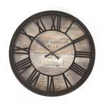 Horloge pendule murale style vintage diamètre 39 cm Coloris marron cuivré effet vieilli