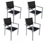 Happy Garden Lot de 4 chaises en aluminium gris - textilène noir