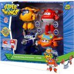 SUPER WINGS COFFRET TRANSFORMING x4 Avions Transformables et Figurines Robots 12cm Super Wings Saison 5 Jouet 3 ans+