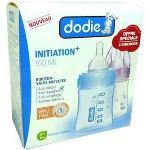 Dodie Coffret de 2 biberons Initiation+ en polypropylène 150 ml avec tétine en silicone débit 1