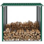 VidaXL Abri de stockage de bois Acier galvanisé 172x91x154 cm Vert