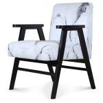 Fauteuil scandinave tendance bois et tissu effet marbre blanc