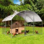 Idmarket Enclos poulailler grillagé 3x2,5 M avec porte latérale et toit dôme 7,5 m²