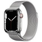 Apple Watch Series 7 GPS + Cellular Silver Stainless Argent Bracelet Milanese 41 mm