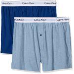 Calvin Klein Slim 2pk, Boxer Homme, Bleu (Chambray Heather/Estate Blue Gva), Large (Lot DE 2)