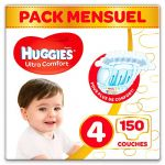 Huggies Ultra Comfort - Couches Bébé Unisexe x150 Taille 4 - Pack 1 Mois
