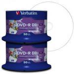 Verbatim DVD+R DL 8.5 Go / 240 min 8x, Full printable 100 pièces en cloche