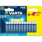 Varta High Energy pile Alcaline AAA x8 + 4 gratuites LR03