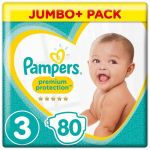 Pampers Premium Protection Taille 3, 6-10 kg, 80 Couches - Jumbo Pack