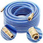 wiltec Tuyau d'air comprimé PVC 20m Compresseur Flexible pneumatique Gaine en Tissu Raccord Rapide