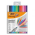 Bic Stylos feutres Intensity - pointe moyenne 1 mm - coloris assortis - pack de 12
